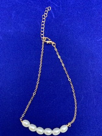 Gold 6 Pearl Anklet