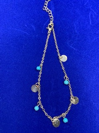 Gold Blue Bead Circle Anklet