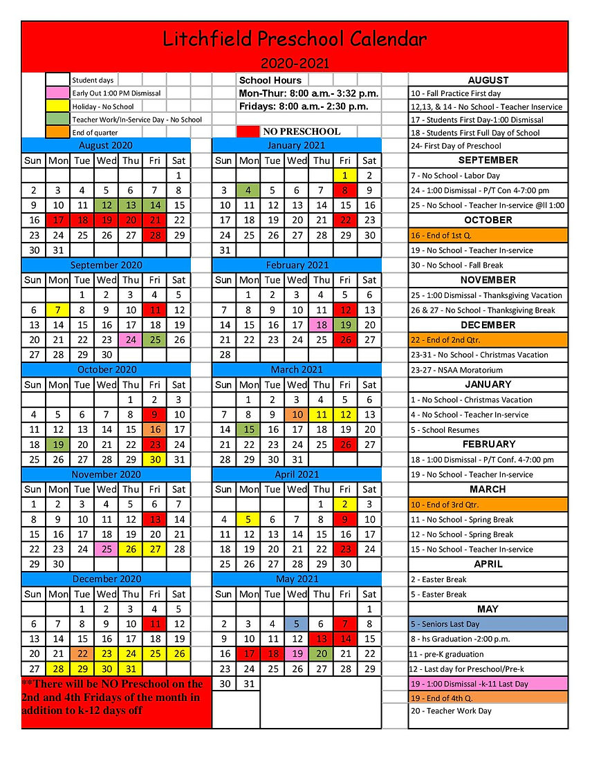 Preschool 2020-2021 Litchfield Calendar-