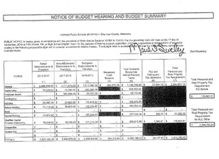 Notice of Budget Hearing and Budget Summary