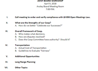 COOP Joint Board Workdhop Agenda for April 9th in Ansley at 7:00 pm