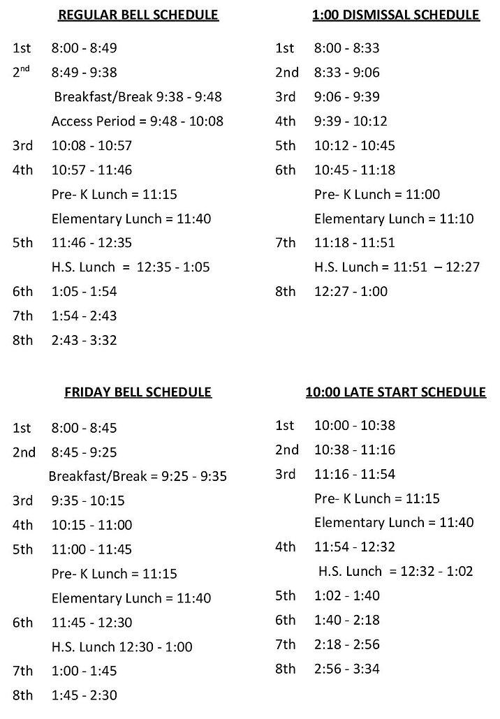 2019-20 Bell Schedule Litchfield -page-0