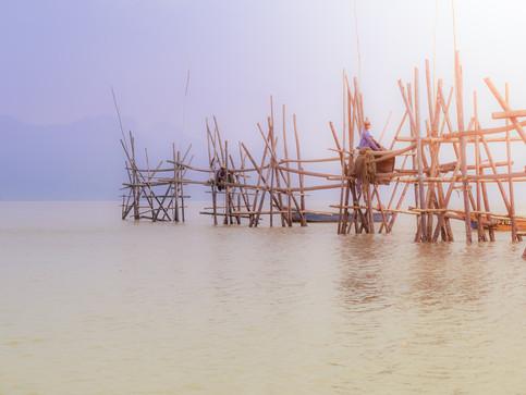Fischer auf Borneo