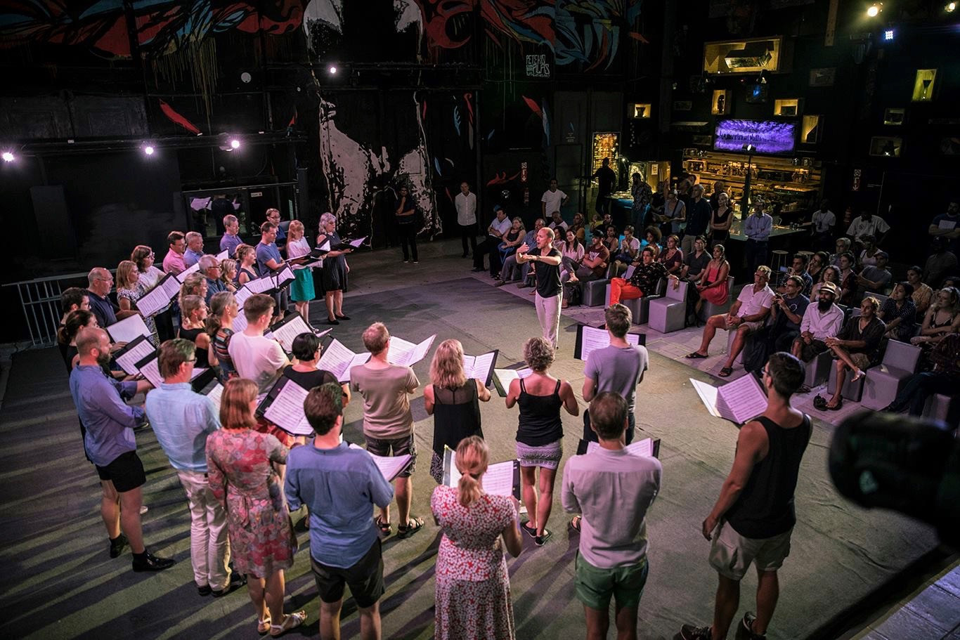 Flashmob-konsert i La Fábrica de arte Cubano, Kuba