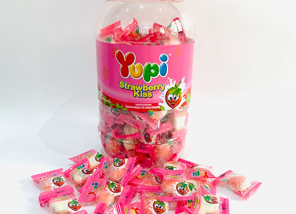 Tub of Yupi Strawberry Kisses Gummies
