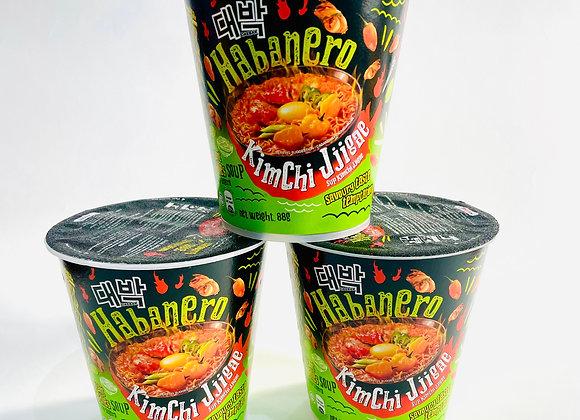 3x Daebak Habanero Kimchi Jjigae Noodles Tub
