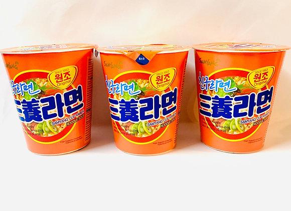 3x Tub Samyang Orange Spicy  Noodles