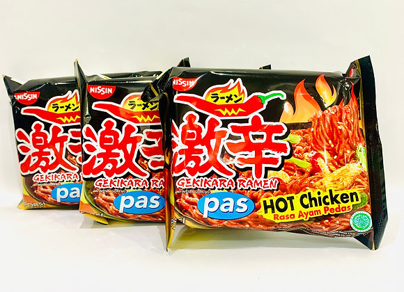 3x Nissin Hot Chicken Ramen Noodles