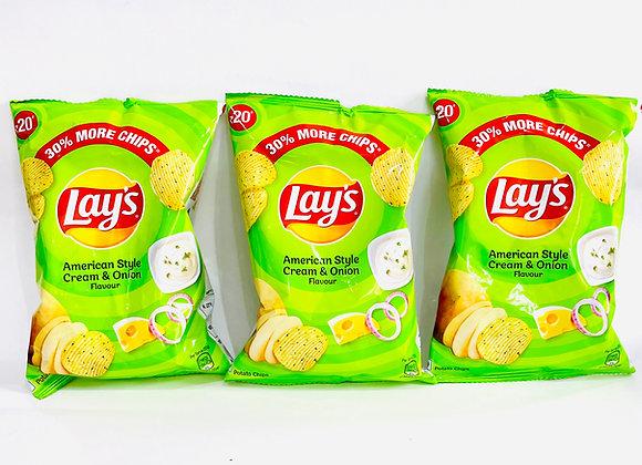3x Lays American Style Cream & Onion 52gr