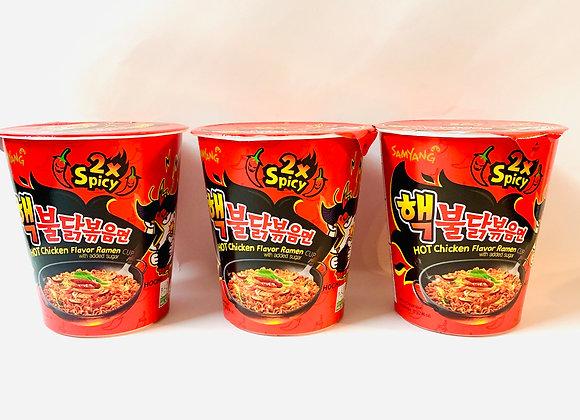 3x Tub Samyang 2x Spicy  Noodles