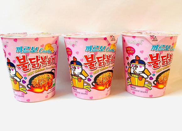 3x Tub Samyang Carbo Spicy  Noodles