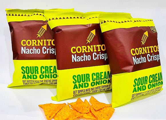 3x Cornitos Nacho Crisps Sour Cream & Onion 60gr