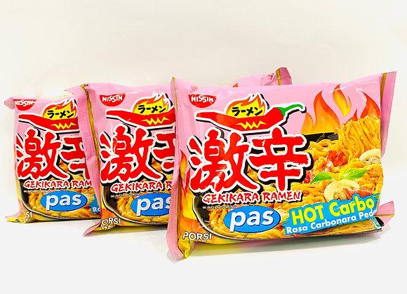 3x Nissin Hot Carbo Ramen Noodles
