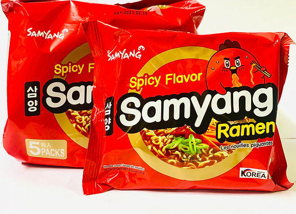 Pack of 5 Samyang Red Spicy Flavour Noodles