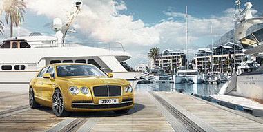 03 flying spur parked at a luxury marina