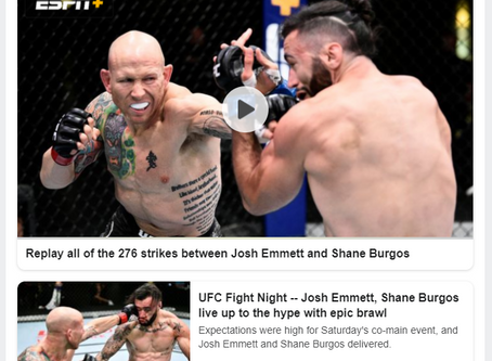 UFC Fight Night -- Josh Emmett, Shane Burgos live up to the hype with epic brawl