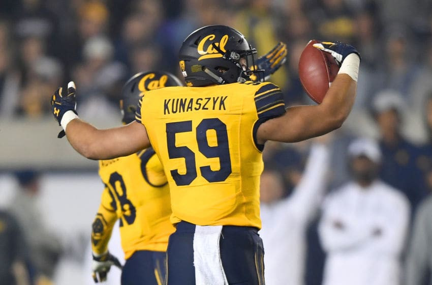 BERKELEY, CA - OCTOBER 13: Jordan Kunaszyk #59 of the California Golden Bears celebrates after intercepting a pass against the Washington State Cougars during the third quarter of their NCAA football game at California Memorial Stadium on October 13, 2017 in Berkeley, California. (Photo by Thearon W. Henderson/Getty Images)