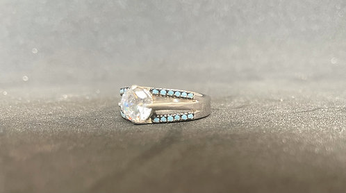 Sleeping Beauty Turquoise & Clear Quartz Ring (7.5)