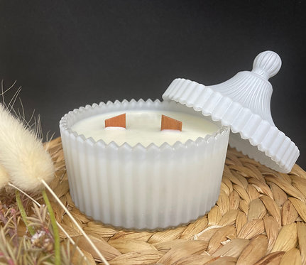 White Frosted Carousel Double Wick Candle