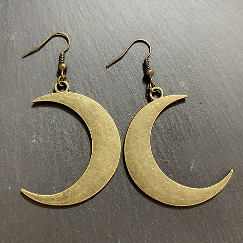 Bronze Crescent Moon Earrings