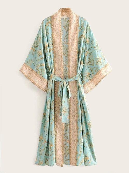 Minty Jasmine boho kimono