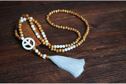 Tassel Peace Wooden Beads