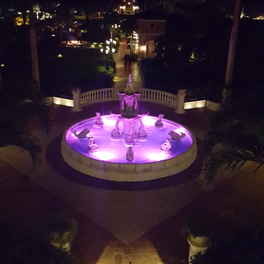 The beautiful fountain by the Mediterranean Oceanview Village.