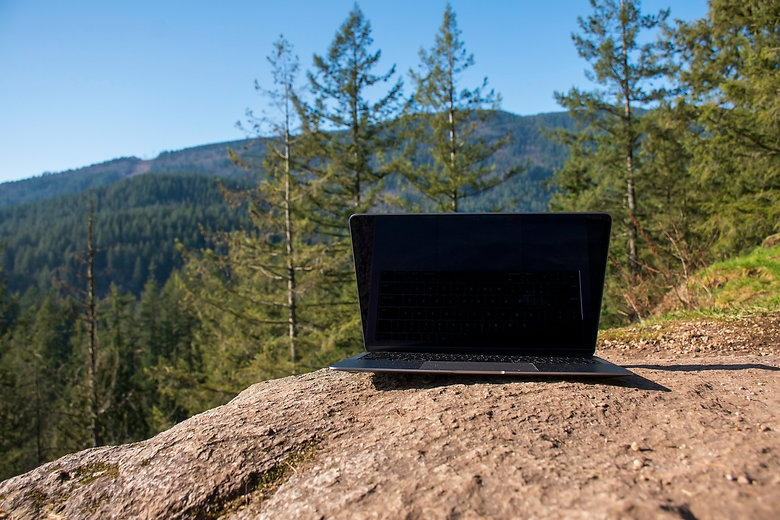 Laptop with a beautiful view on the back