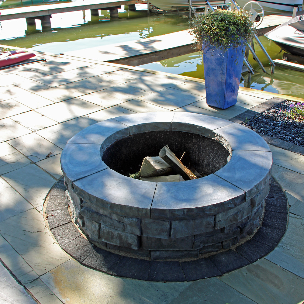 Wood-burning fire pit on patio
