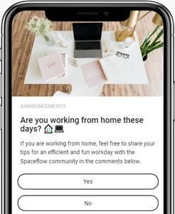 A screenshot of the Spaceflow app