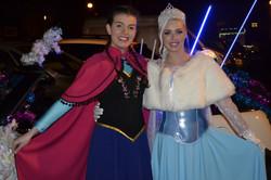 Elsa & Anna at The Christmas Parade