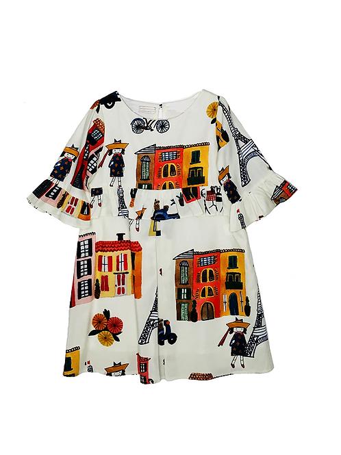 Vestido Estampa Paris Trápezio