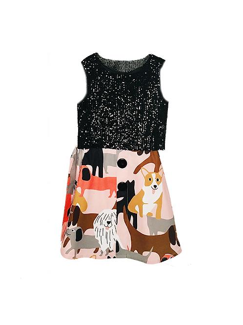 Conjunto de Saia Midi estampa cachorro e Blusa de paetê preto