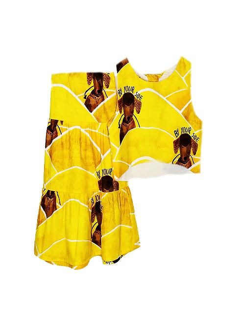 Conjunto de Saia Midi estampa Dog amarelo