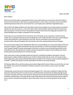 Letter informing parents that schools will move to remote learning for all students in New York City