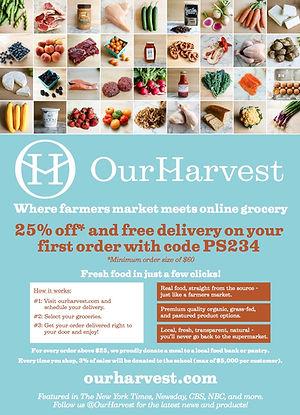 Our Harvest farmers market information flyer