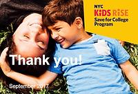 NYC Kids Rise college savings program flyer