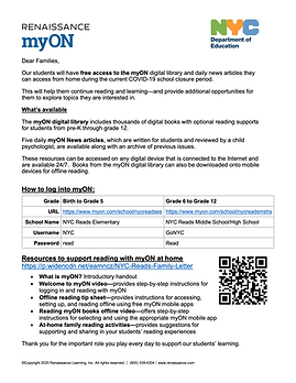 Information about Free access to myOn digital library