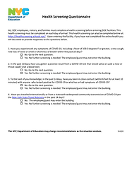 DOE Health Screening Questionnaire