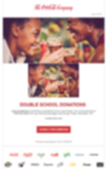 2 women drinking Coca Cola advertising the website for school donations