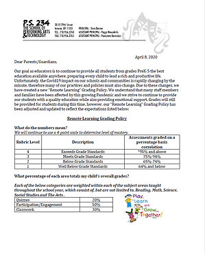 letter to parents describing the grading policy for students