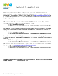 DOE Health Screening Questionnaire in Spanish