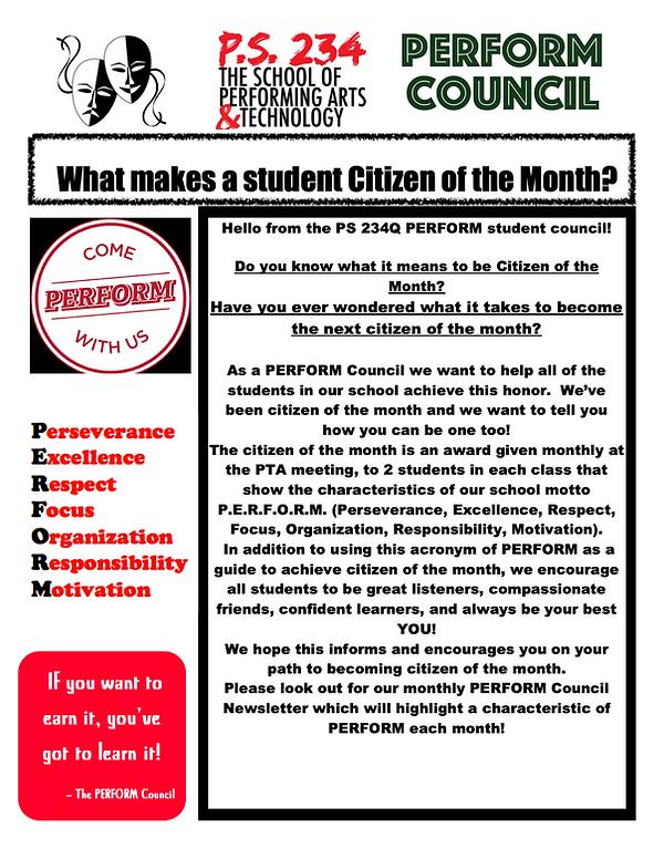 Citizen of the Month Criteria