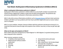 MIS-C fact sheet on how it affects children