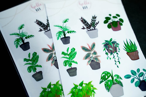 clear plant sticker sheet