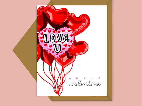 love you valentine balloon card