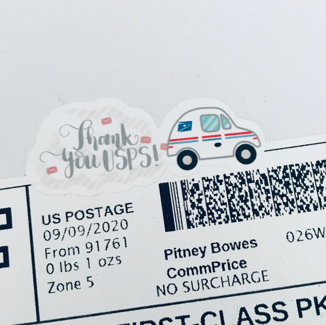 thank you USPS sticker