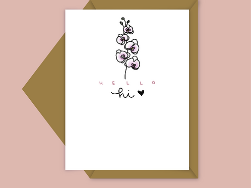 simple orchid flower; thank you card