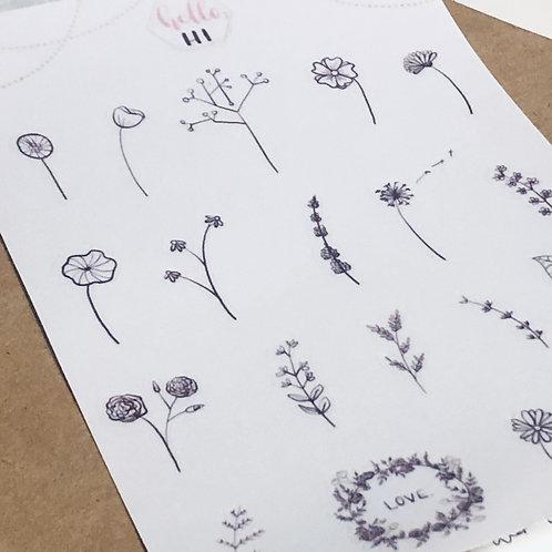 botanical clear sticker sheet