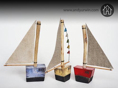 Handmade Raku sailboats